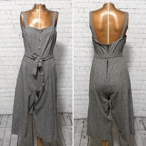 As U Wish Belted Glen Plaid Jumpsuit EUC